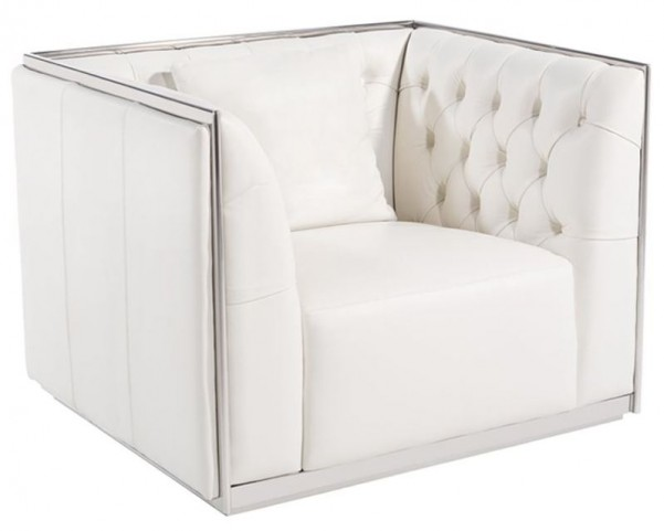 Maxime White Leather And Polished Stainless Steel Frame Armchair
