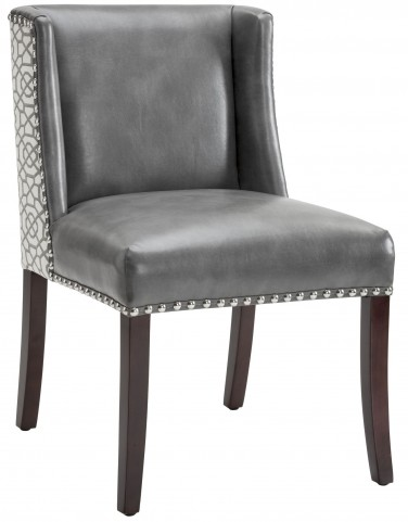Marlin Grey Leather And Diamond Fabric Dining Chair Set of 2
