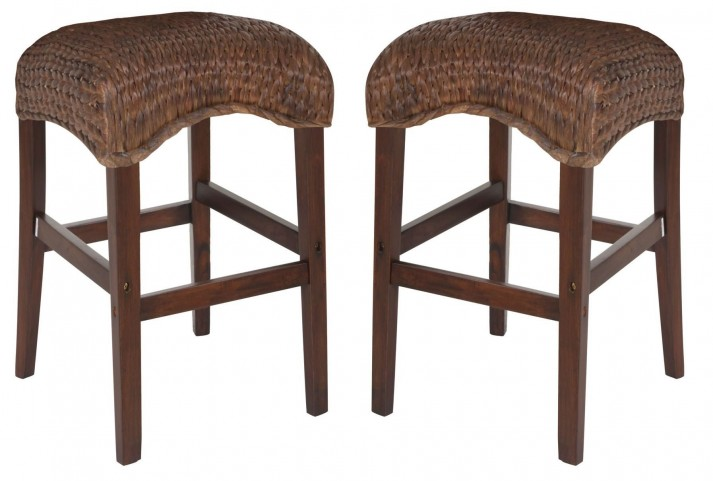 Westbrook Banana Leaf Natural Bar Stool Set of 2