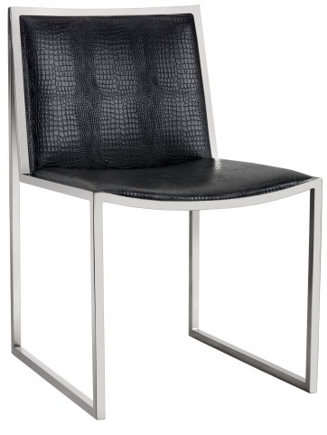 Blair Black Crocodile Pattern Dining Chair Set of 2