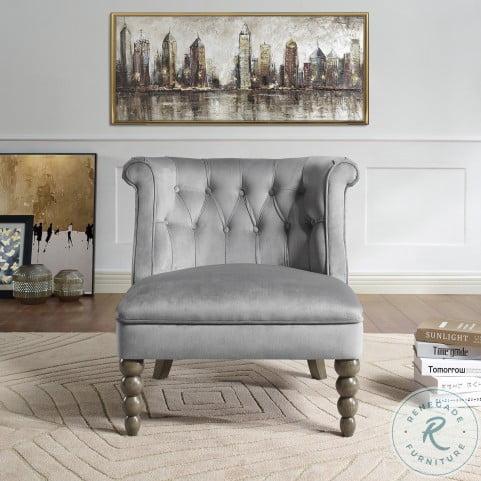 Odelle Gray Velvet Accent Chair