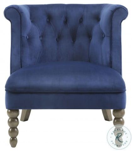 Odelle Navy Velvet Accent Chair