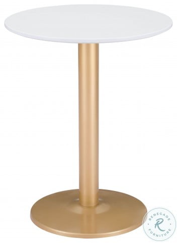 Alto White and Gold Bistro Table Set