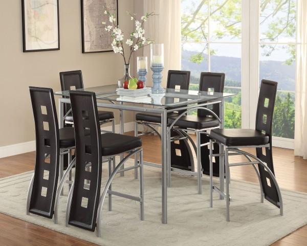 Los Feliz Matte Silver Counter Height Dining Room Set