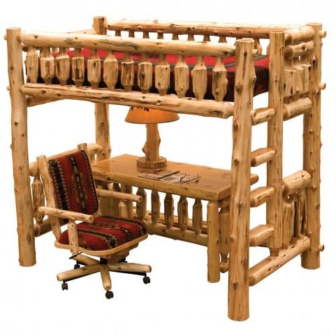 Traditional Cedar Single Right ladder Loft Bed