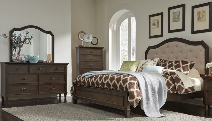 Berkley Heights Antique Washed Walnut Panel Bedroom Set