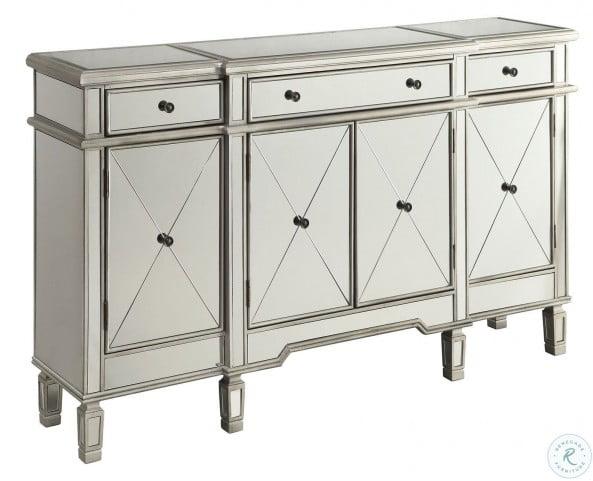 102595 Clear Mirror 3 Drawer Wine Cabinet