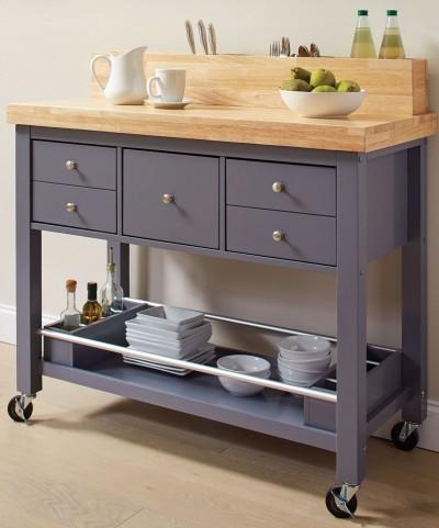 Natural and Grey Kitchen Cart