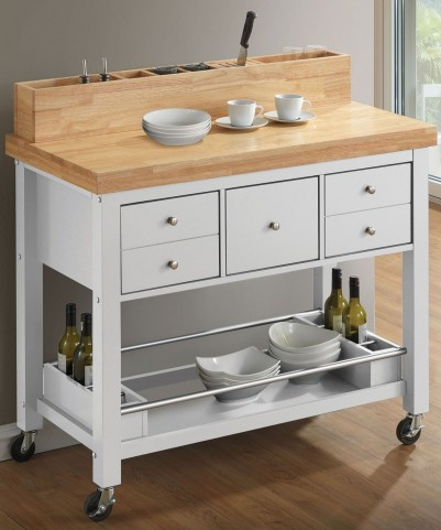Natural and White Kitchen Cart
