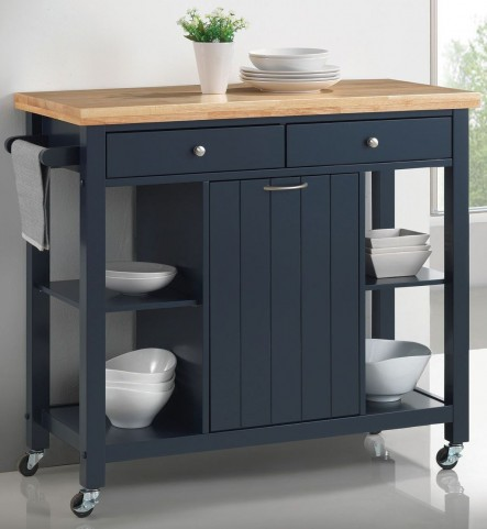 "41"" Natural and Navy Blue Kitchen Cart"
