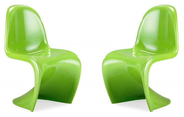S Chair Green Set of 2