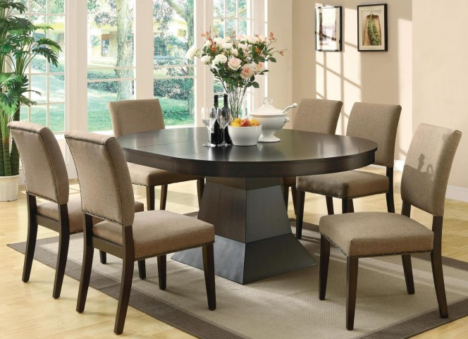 Myrtle Cappuccino Round Extendable Dining Room Set