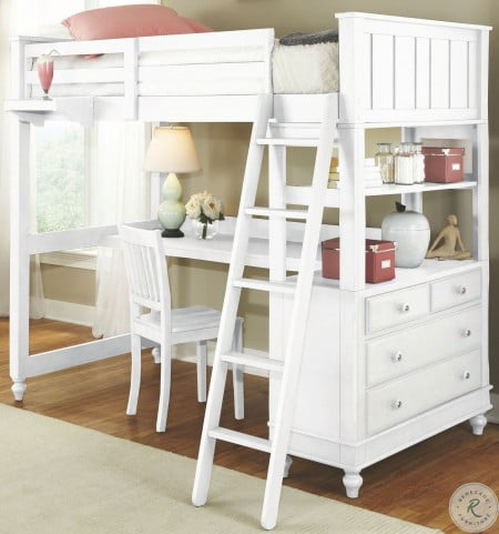 Fine Lake House White Twin Loft Bed With Desk Home Interior And Landscaping Ponolsignezvosmurscom