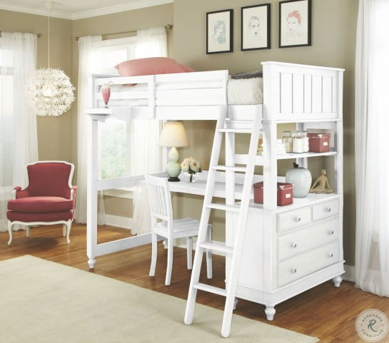 Lake House White Twin Loft Bed with Desk