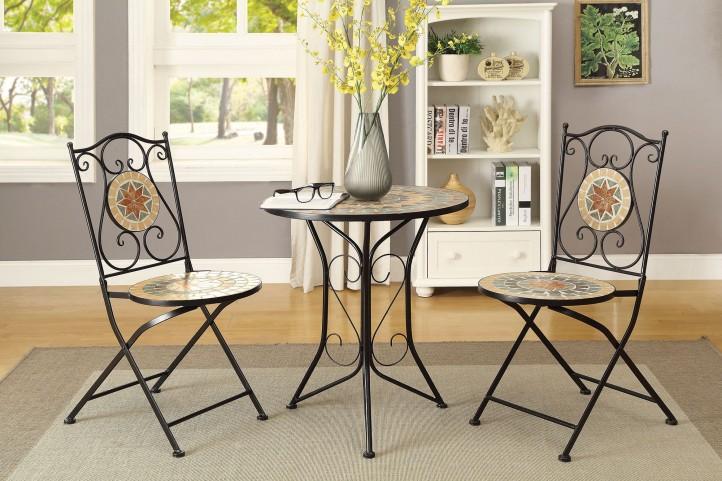 Matte Black 3 Piece Dining Room Set