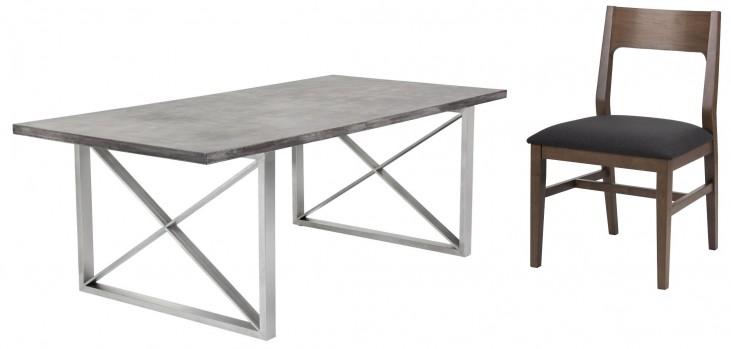 Catalan Sealed Concrete Top Rectangular Dining Room Set