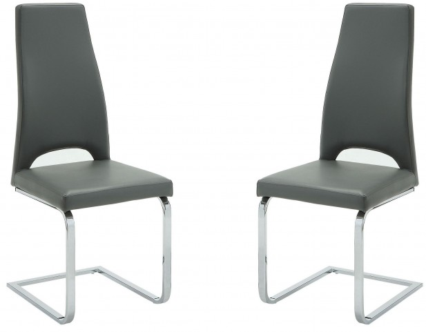 Grey and Chrome Side Chair Set of 2
