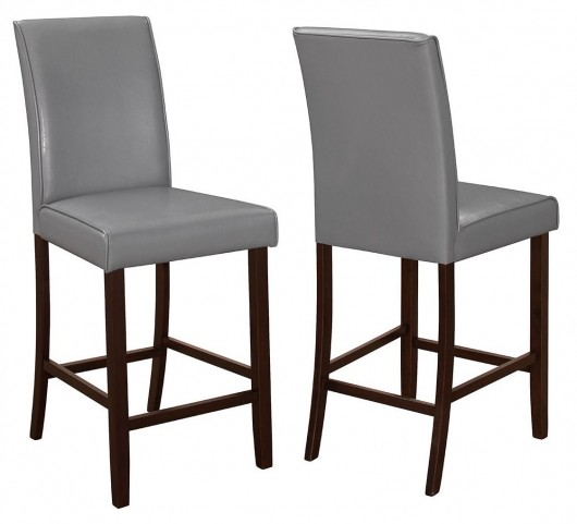Fattori Grey Leatherette Counter Height Chair Set of 2