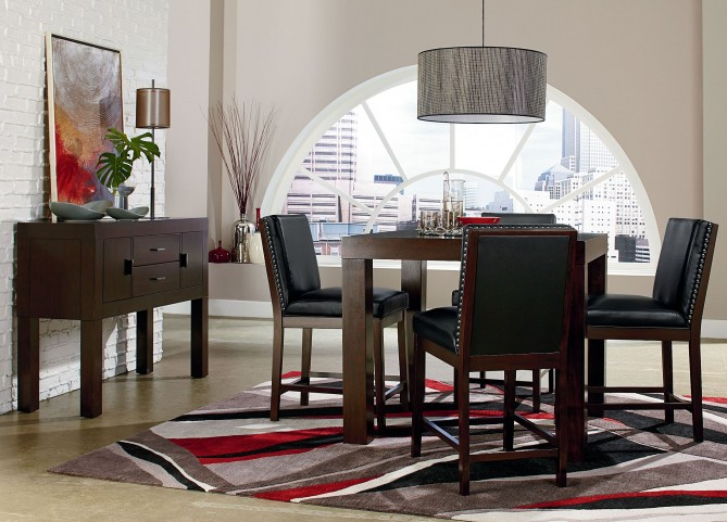 """Couture Elegance Dark Chocolate Brown 42"""" Square Counter Height Dining Room Set"""