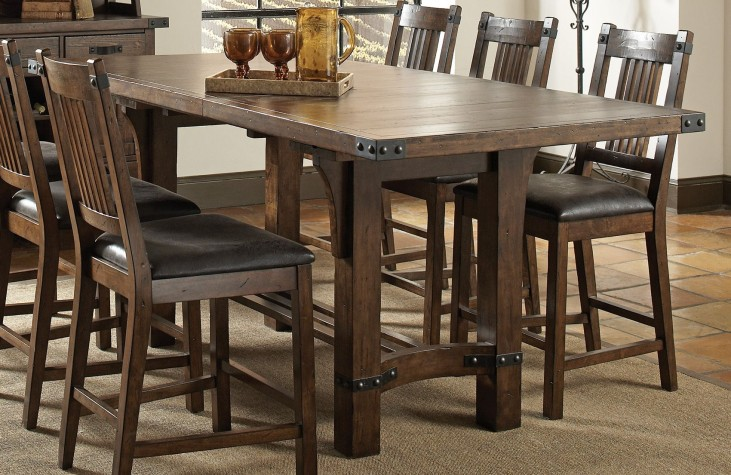 Padima Distressed Cognac Extendable Counter Height Dining Table