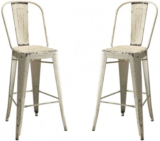 White Bar Stool Set of 2