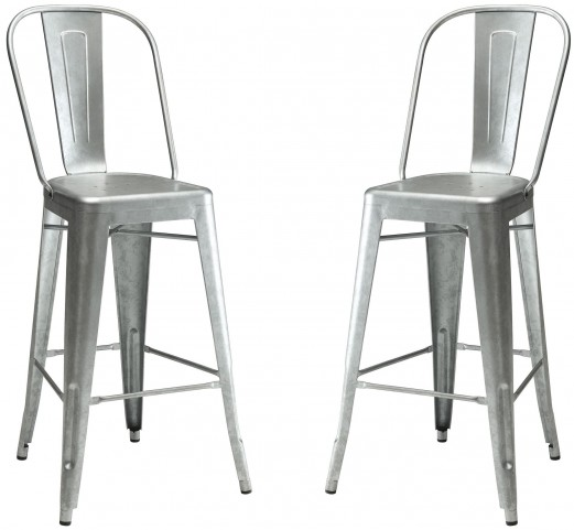 Galvanized Metal Bar Stool Set of 2