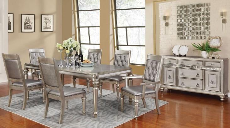 Danette Metallic Platinum Rectangular Extendable Dining Room Set