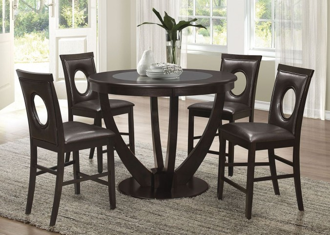 Stapleton Cappuccino Round Counter Height Dining Room Set