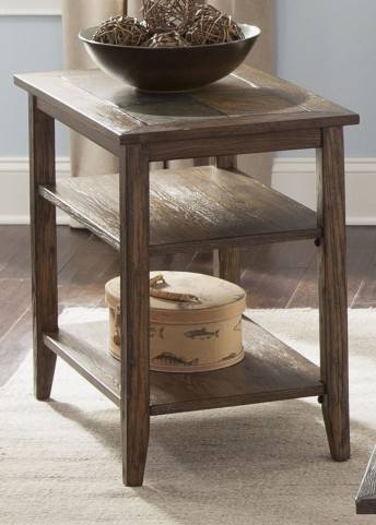 Brookstone Weathered Oak Chair Side Table