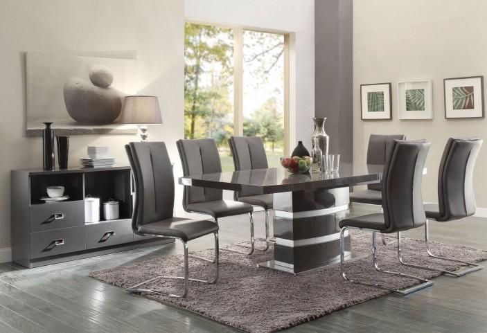 Lowry High Gloss Taupe and Metal Chrome Dining Room Set