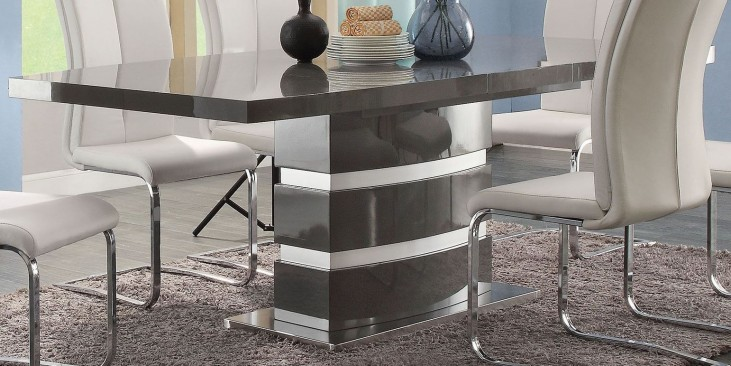 Lowry High Gloss Taupe and Metal Chrome Dining Table