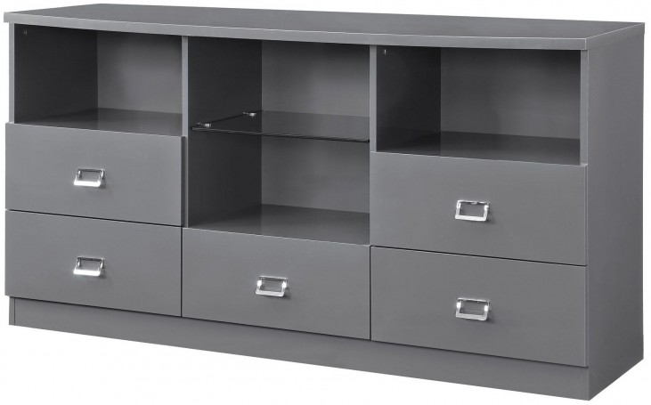 Lowry High Gloss Taupe and Metal Chrome Server