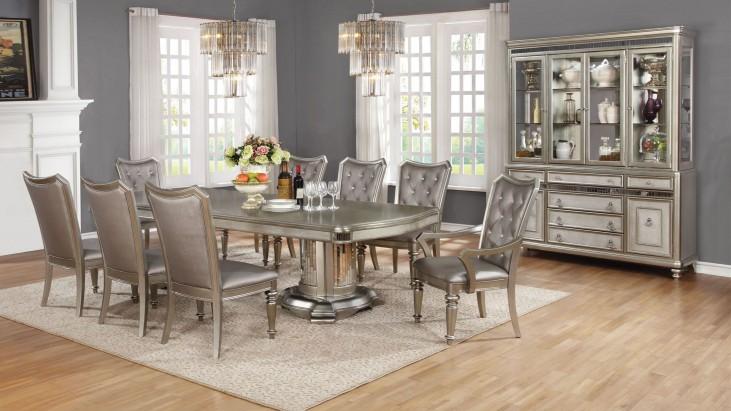 Danette Metallic Platinum Dining Room Set