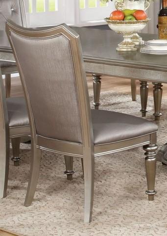 Danette Metallic Platinum Upholstered Side Chair Set of 2