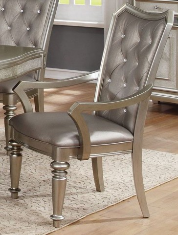 Danette Metallic Platinum Upholstetred Arm Chair Set of 2
