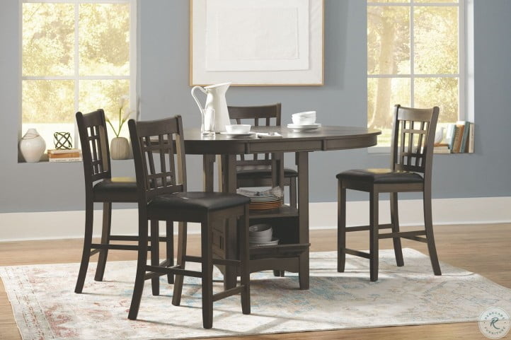Lavon Medium Gray Extendable Counter Height Dining Room Set