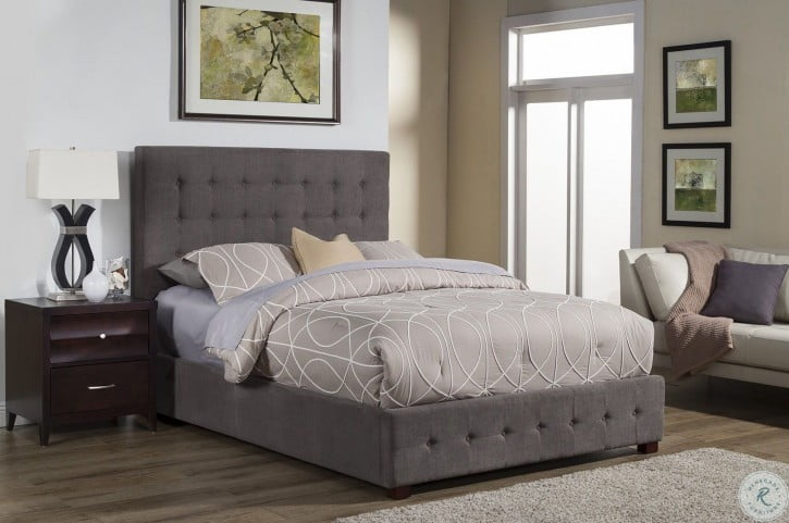 Alma Charcoal Tufted Queen Platform Bed