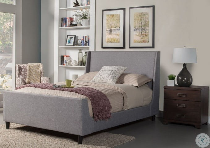 Amber Linen Upholstered Cal. King Upholstered Panel Bed