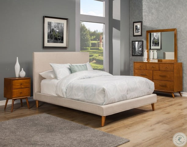 Britney Linen Upholstered Queen Platform Bed