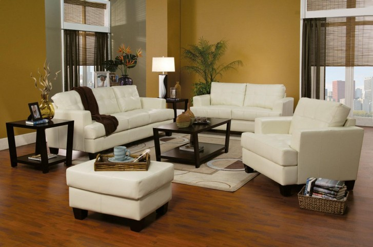 Samuel Cream Leather Living Room Set - 501691