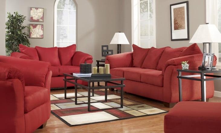 Darcy Red Salsa Living Room Set
