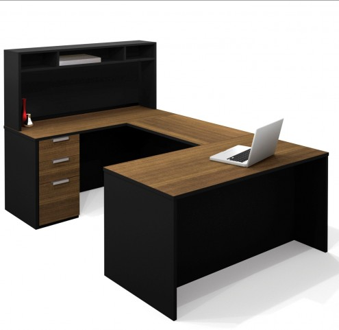 Pro-Concept U-Shaped Workstation With Small Hutch In Chocolate & Black