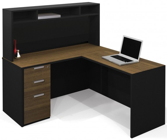 Pro-Concept Milk Chocolate Bamboo & Black L-Shaped Workstation with Small Hutch and Pededestal