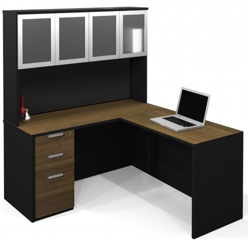 Pro-Concept Milk Chocolate Bamboo & Black L-Shaped Workstation with High Hutch and Pedestal