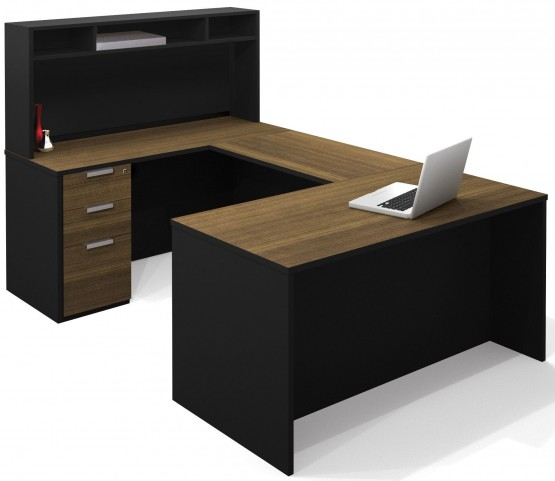 Pro-Concept Milk Chocolate Bamboo & Black U-Shaped Workstation with Small Hutch and Pedestal