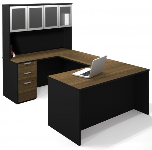 Pro-Concept Milk Chocolate Bamboo & Black U-Shaped Workstation with High Hutch and Pedestal