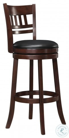 Edmond Dark Cherry Slat Back Swivel Pub Chair Set of 2