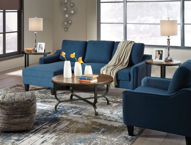 Swell Jarreau Blue Queen Sofa Chaise Sleeper Evergreenethics Interior Chair Design Evergreenethicsorg