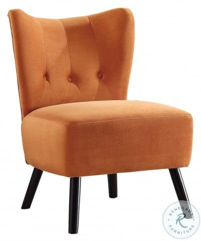 Imani Orange Velvet Accent Chair