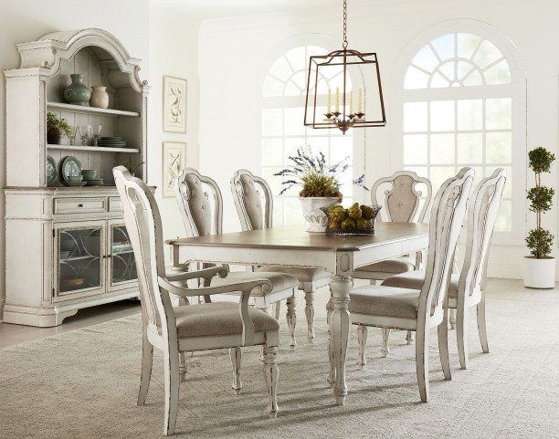 distressed white dining room furniture | Stevenson Manor Distressed White Extendable Dining Room ...